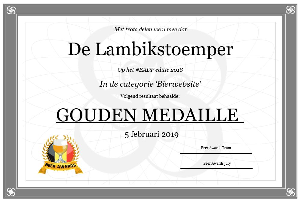 Beer Awards Gouden Medaille #BADF18